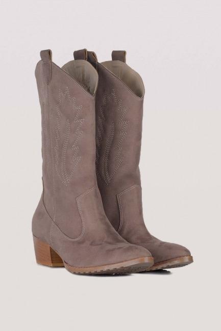 Mizalle - Western Suede Boots (Mink)