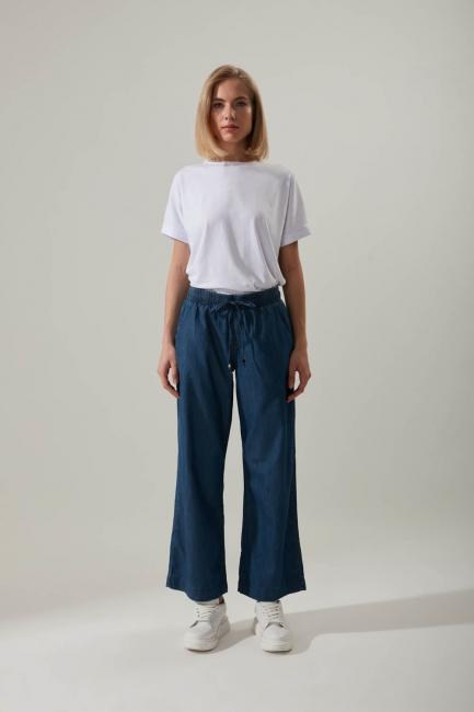 Mizalle - Wide Leg Denim Pants (Dark Blue)