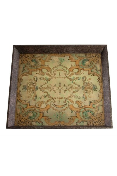 Mizalle Home - Yellow Motive Wooden Tray (60X60X5)