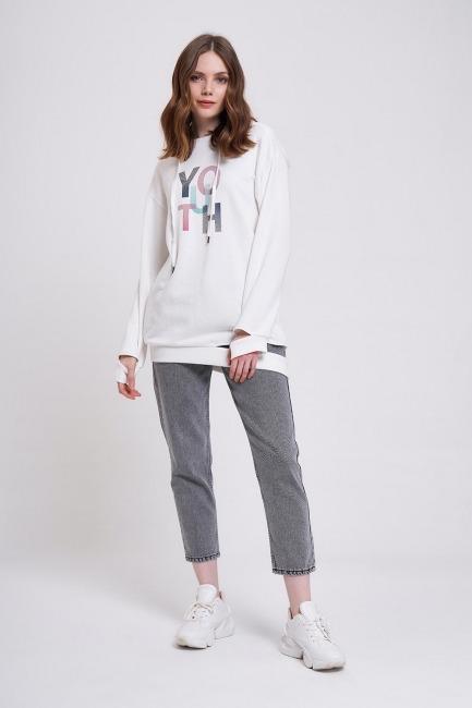 Mizalle - Youth Printed Sweatshirt (Ecru)