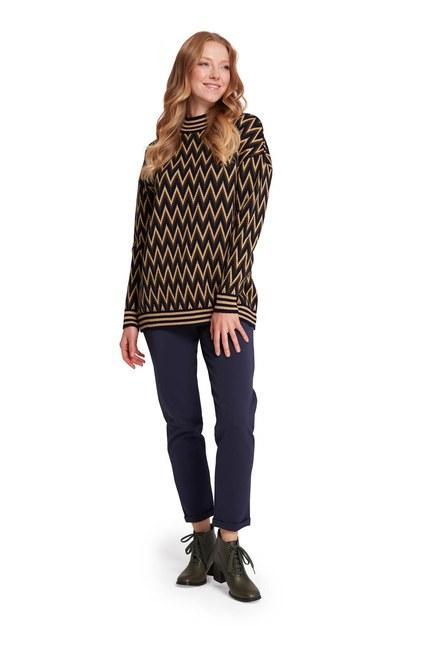 Mizalle - Zigzag Patterned Turtleneck Sweater (Navy Blue/Khaki) (1)