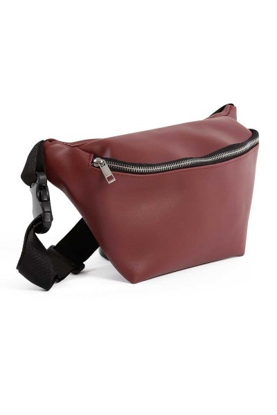 Mizalle - Zipper Detailed Waist Bag (Claret Red) (1)