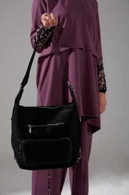 Mizalle - Zippered Backpack and Shoulder Bag (Black)