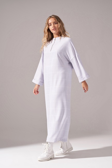 Mizalle Youth - Zippered Plaid Dress (Lilac) (1)