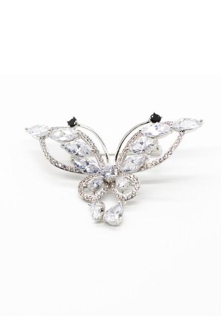 Mizalle - Zirkon Stoned Butterfly Brooch (Grey)