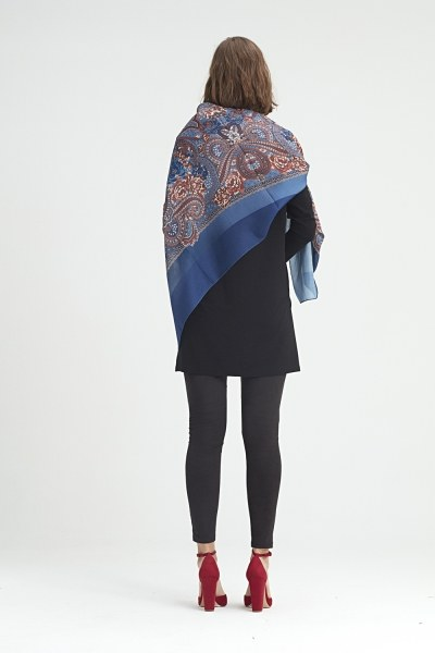 Scarf-Formed Shawl (Blue) - Thumbnail
