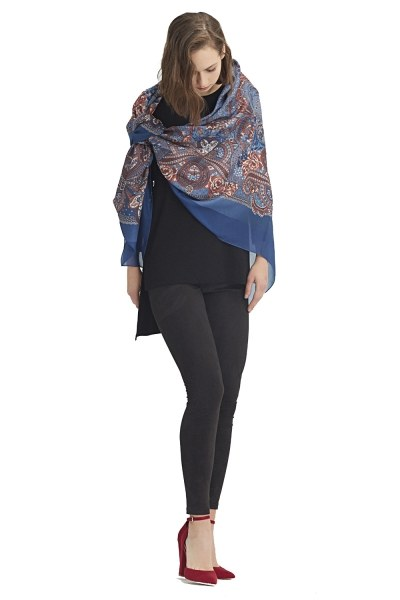 MIZALLE Scarf-Formed Shawl (Blue)