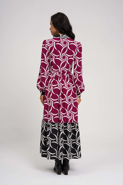 Eteği Desenli Uzun Elbise (Siyah/Fuşya)