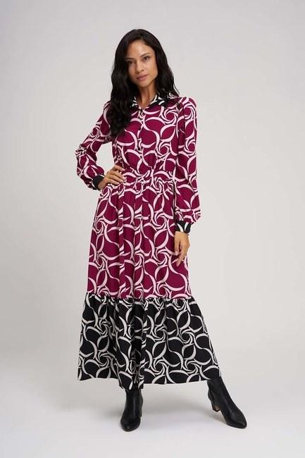Mizalle - Eteği Desenli Uzun Elbise (Siyah/Fuşya)
