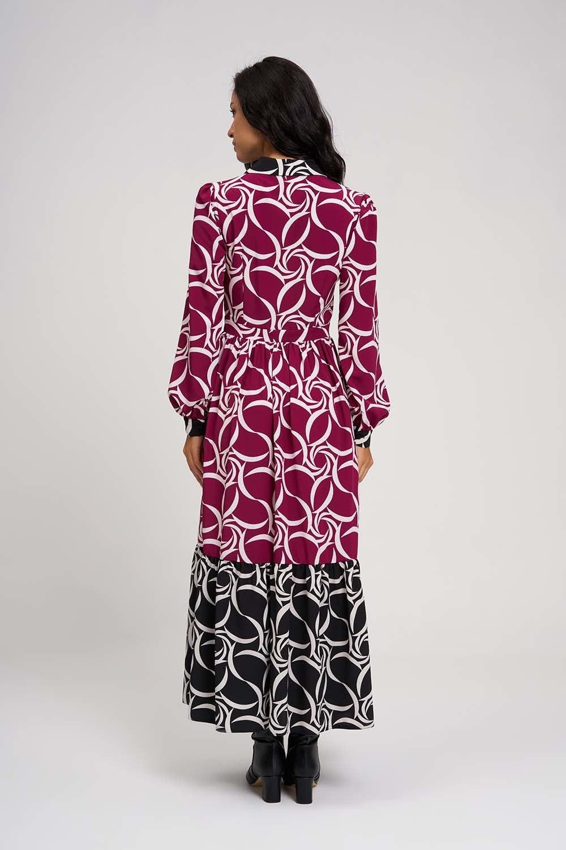 MIZALLE Eteği Desenli Uzun Elbise (Siyah/Fuşya) (1)
