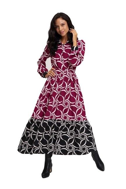 MIZALLE Eteği Desenli Uzun Elbise (Siyah/Fuşya)