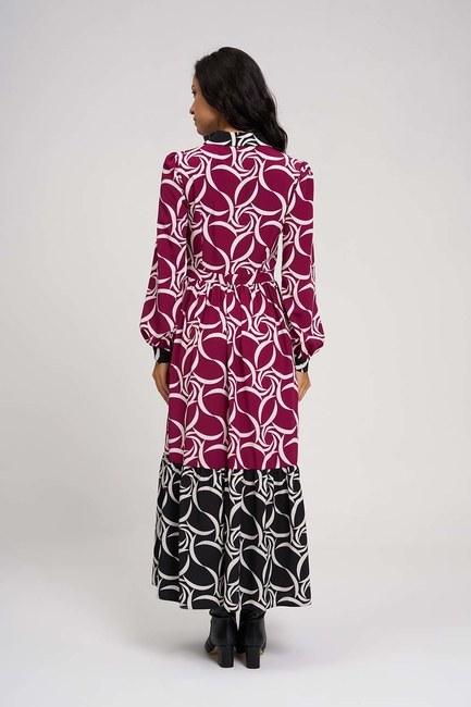 MIZALLE - Eteği Desenli Uzun Elbise (Siyah/Fuşya) (1)