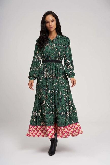 Mizalle - Eteği Desenli Uzun Elbise (Yeşil)