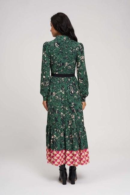 Eteği Desenli Uzun Elbise (Yeşil) - Thumbnail
