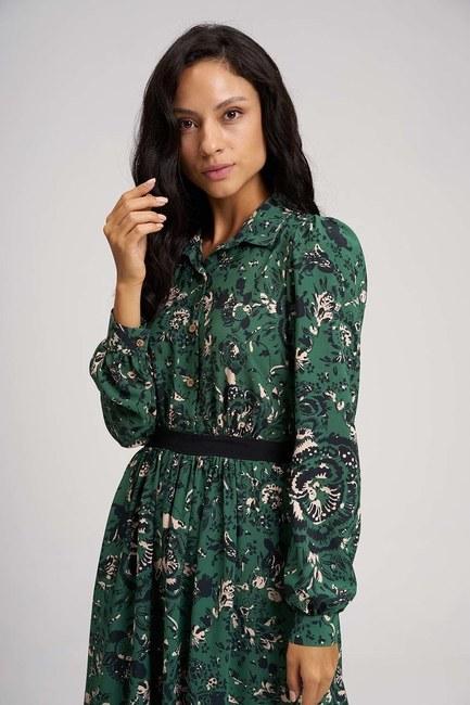 MIZALLE - Eteği Desenli Uzun Elbise (Yeşil) (1)