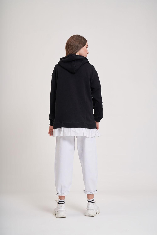 Eteği Fırfır Detaylı Siyah Sweatshirt