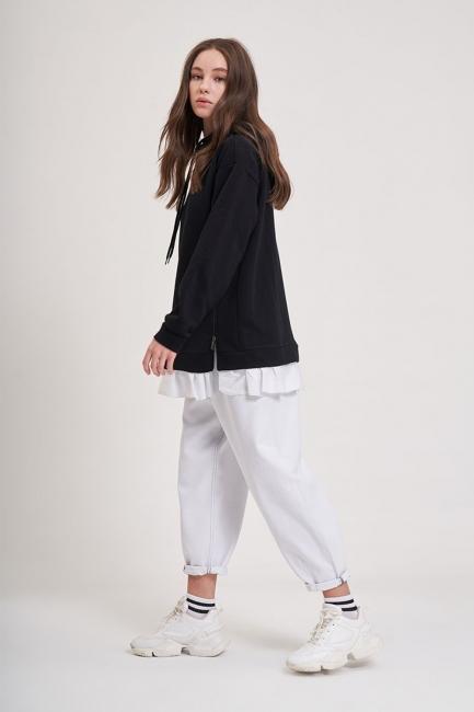 Mizalle - Eteği Fırfır Detaylı Sweatshirt (Siyah)