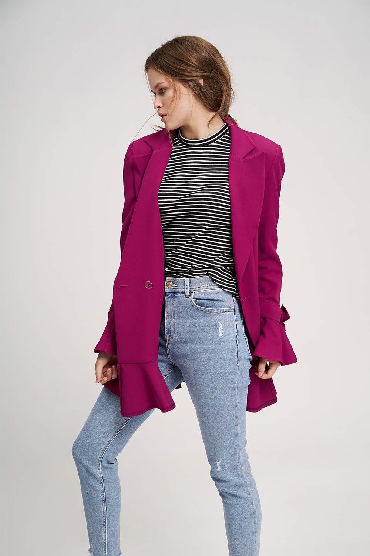 Eteği Fırfırlı Uzun Ceket (Mor)