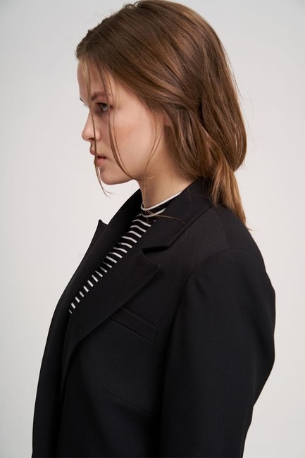 Eteği Fırfırlı Uzun Ceket (Siyah) - Thumbnail