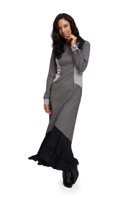 Eteği Volanlı Parçalı Siyah-Beyaz Elbise - Thumbnail