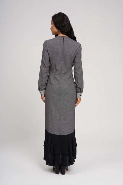 MIZALLE - Eteği Volanlı Parçalı Elbise (Siyah/Beyaz) (1)