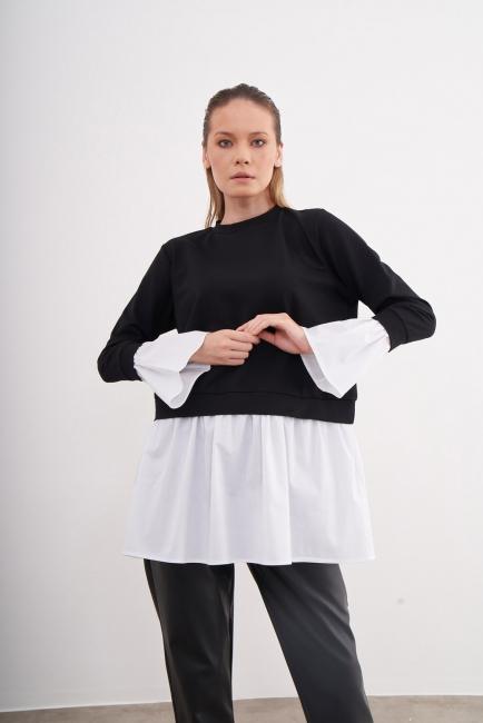 Mizalle - Etek Kısmı Volanlı Siyah Tunik