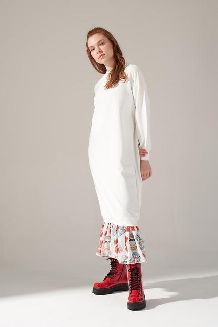 Mizalle - Etek Ucu Desenli Sweat Elbise (Ekru)