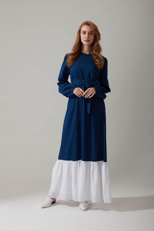 Güpürlü Uzun Lacivert Elbise
