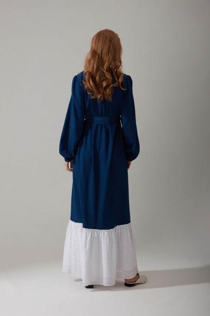 Güpürlü Uzun Lacivert Elbise - Thumbnail