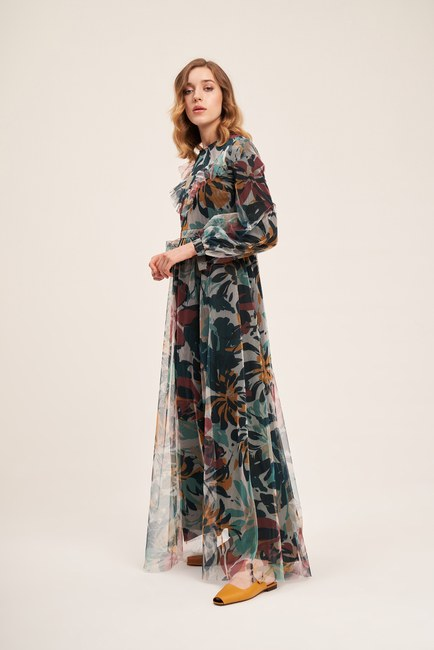 MIZALLE - Ethnic Patterned Tulle Dress (1)