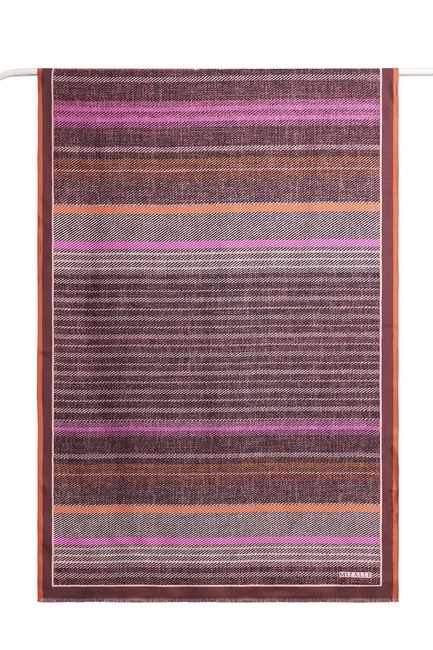 MIZALLE - Ethnic Patterned Silk Shawl (Pink) (1)