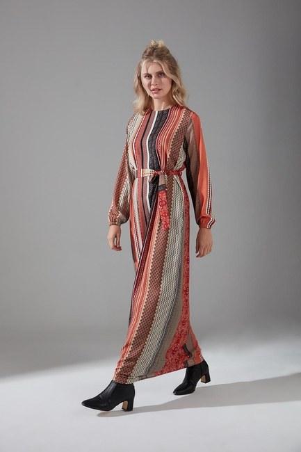 Mizalle - Etnik Desenli Kuşaklı Elbise (Kiremit)