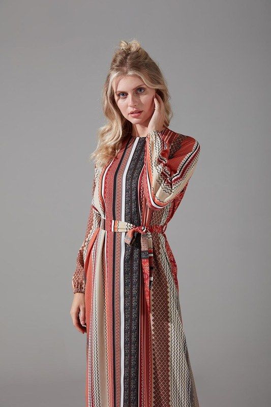 Etnik Desenli Kuşaklı Elbise (Kiremit)