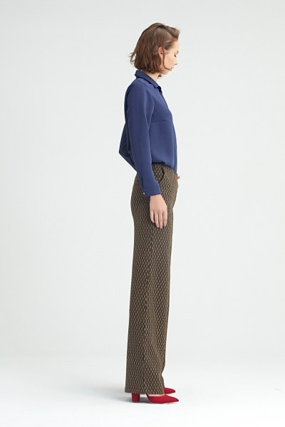 MIZALLE - Ethnical Patterned Trousers (Brown) (1)