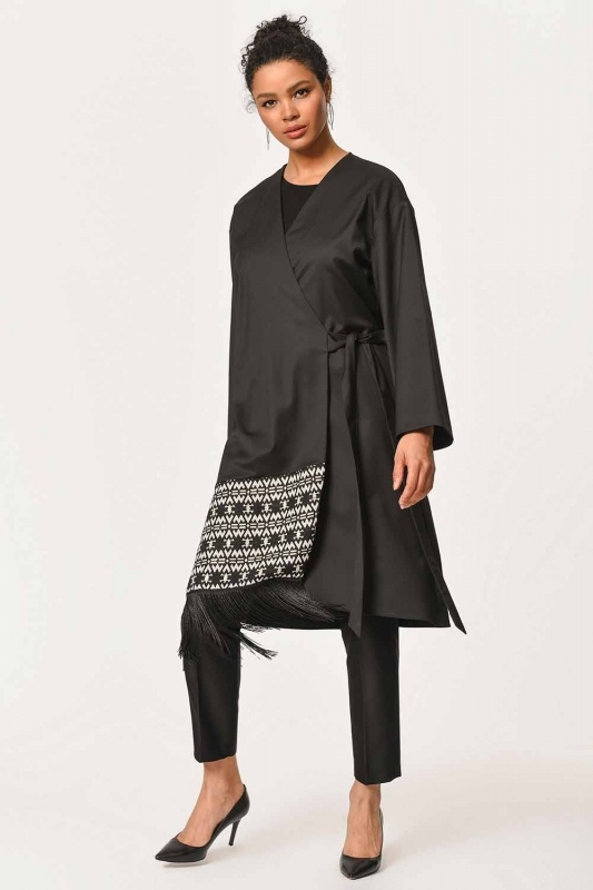Etnik Jakar Desenli Kimono (Siyah)