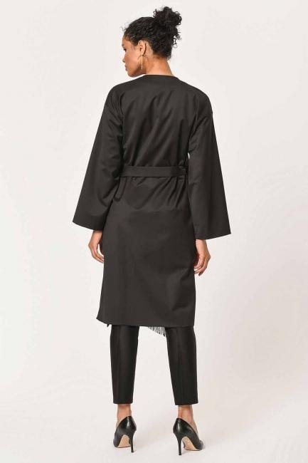 Etnik Jakar Desenli Kimono (Siyah) - Thumbnail