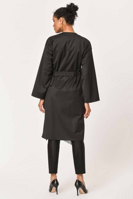 Ethnic Jacquard Patterned Kimono (Black) - Thumbnail