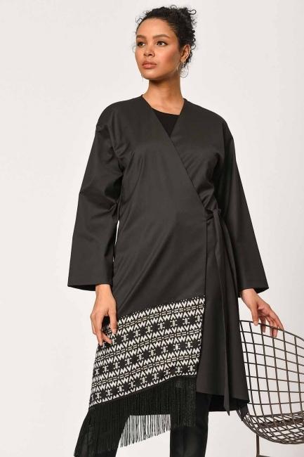 MIZALLE - Etnik Jakar Desenli Kimono (Siyah) (1)