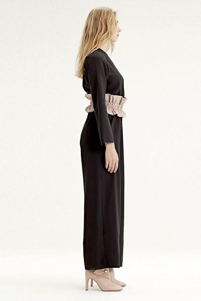 MIZALLE - Fabric-Belt Detailed Jumpsuit (Black) (1)