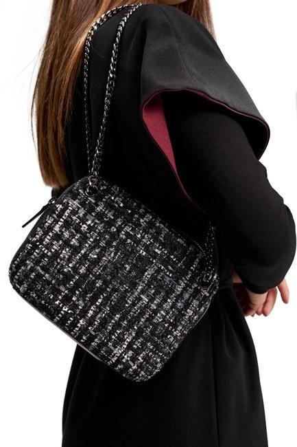 Mizalle - Fabric Patterned Bag (Black) (1)
