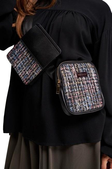MIZALLE - حقيبة الخصر بنمط القماش (أسود) (1)