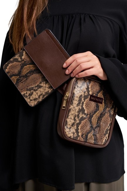 MIZALLE - Fabric Patterned Waist Bag (Brown) (1)