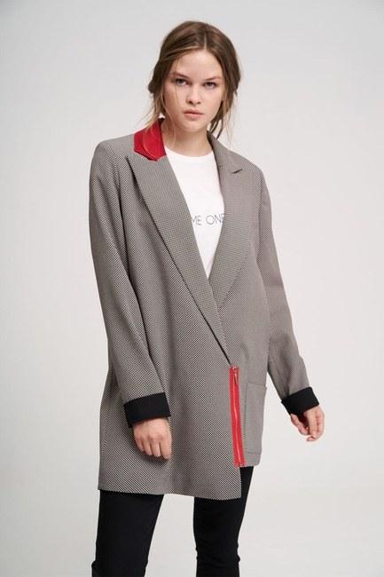 MIZALLE YOUTH - Fermuar Detaylı Ceket (Siyah) (1)