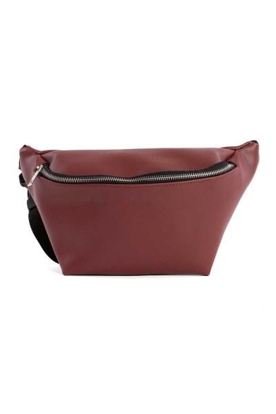 MIZALLE سحاب مفصلة ، حقيبة الخصر مع حزام (عنابي)