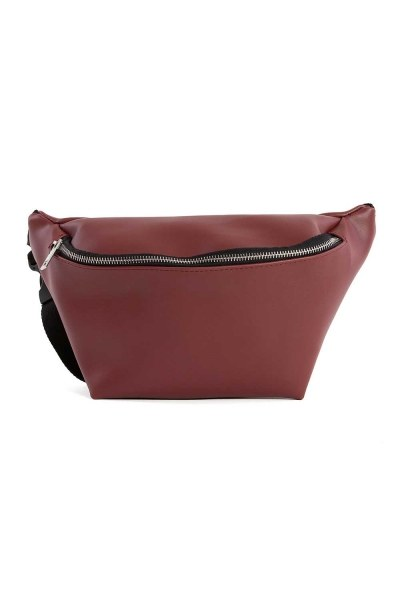 Zipper Detailed Waist Bag (Claret Red) - Thumbnail