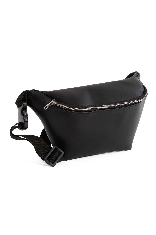 MIZALLE سحاب مفصلة ، حقيبة الخصر مع حزام (أسود) (1)