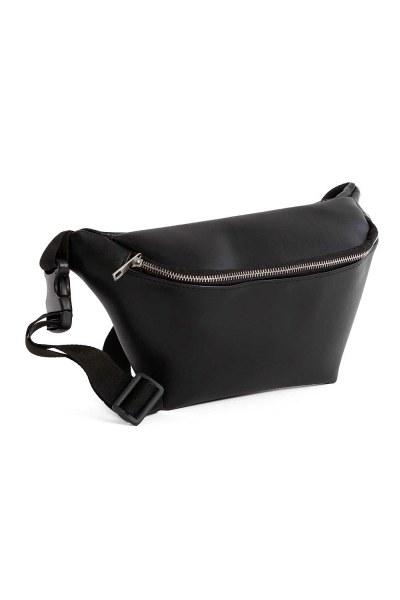 MIZALLE - سحاب مفصلة ، حقيبة الخصر مع حزام (أسود) (1)