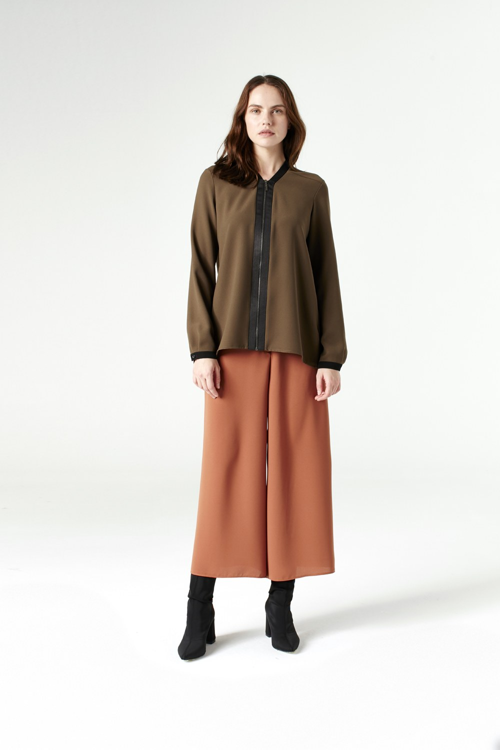MIZALLE Shirt With Zipper (Khaki) (1)