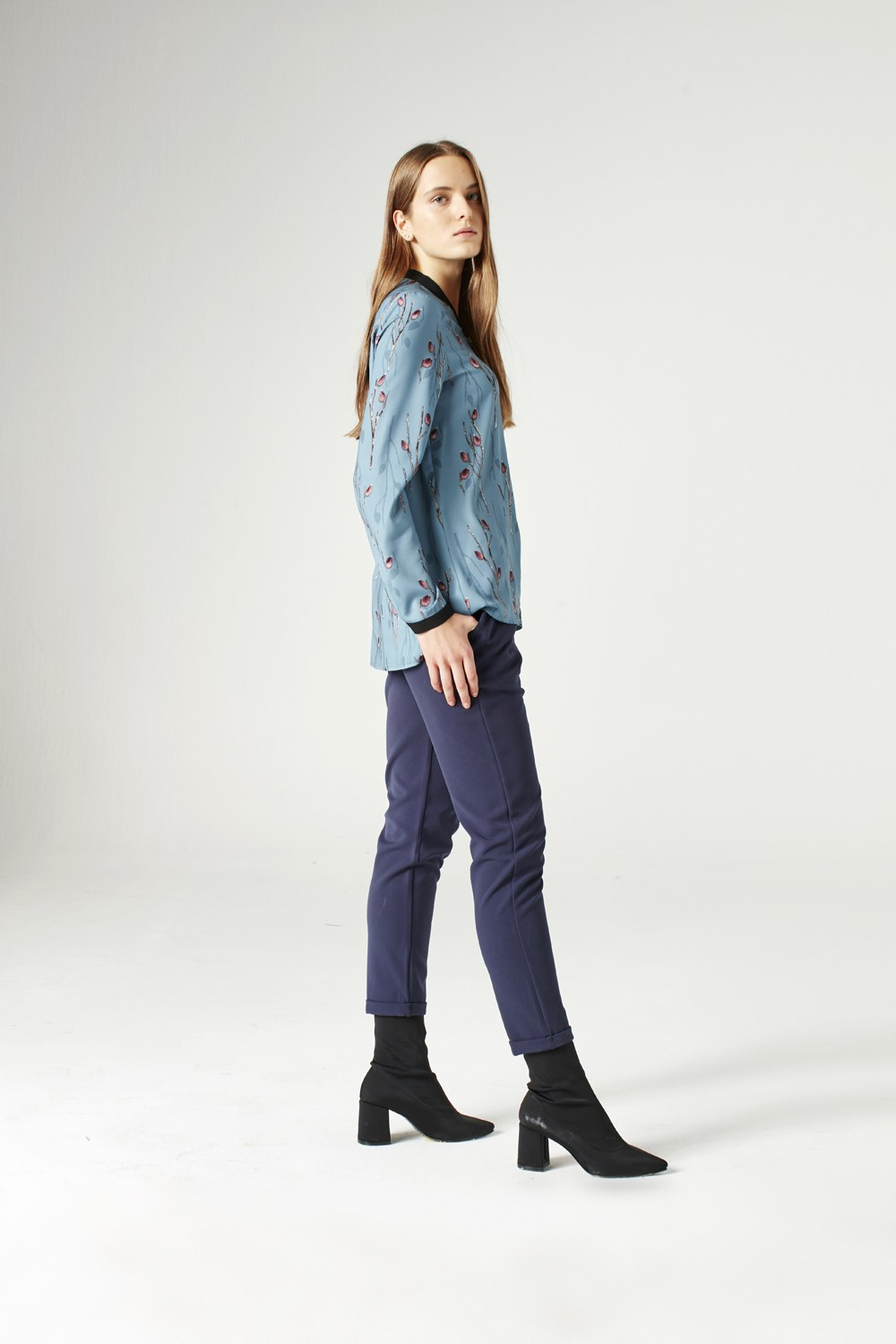 MIZALLE Shirt With Zipper (Blue) (1)