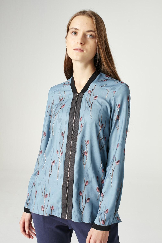 MIZALLE Fermuarlı Gömlek (Mavi) (1)